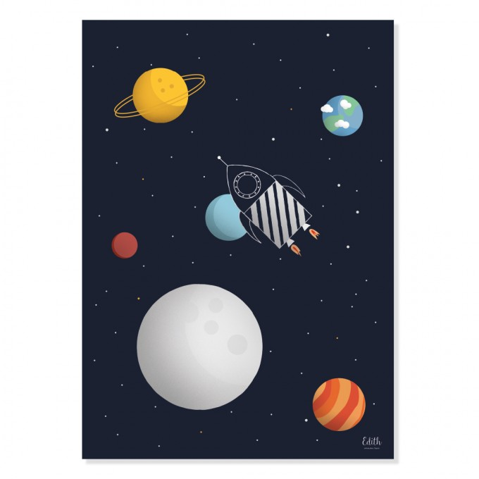 "Edith schmuckes Papier ""Weltraumrakete"" Poster A3"