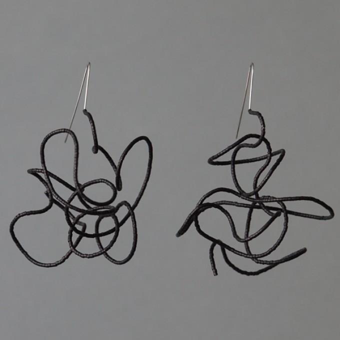 Gewirr schwarz - margaritifera - Ohrhänger - Stahl und Glas