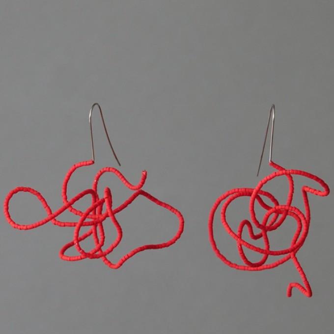 Gewirr rot - margaritifera - Ohrhänger - Stahl und Glas