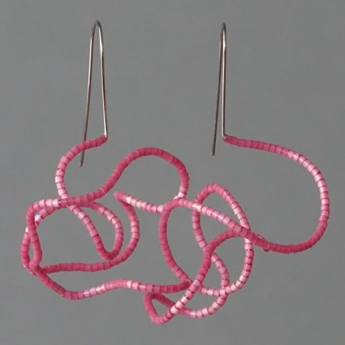 Gewirr rosa - margaritifera - Ohrhänger - Stahl und Glas