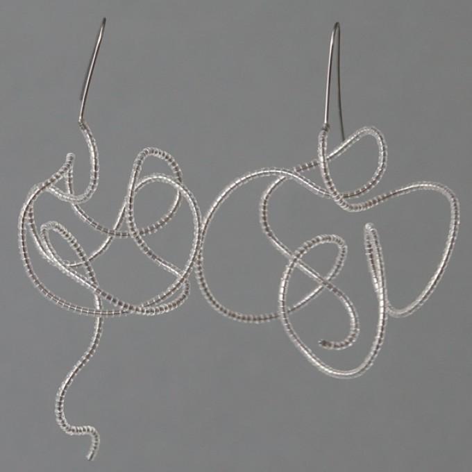Gewirr transparent - margaritifera - Ohrhänger - Stahl und Glas