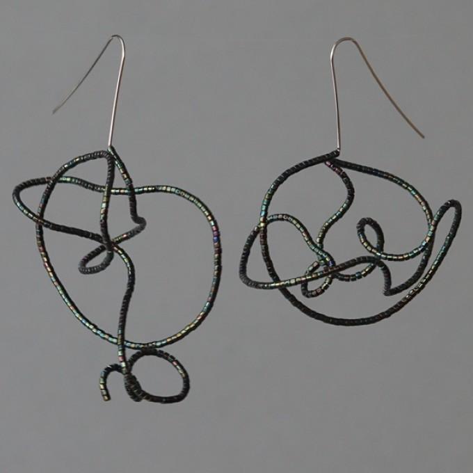 Gewirr irisierend - margaritifera - Ohrhänger - Stahl und Glas
