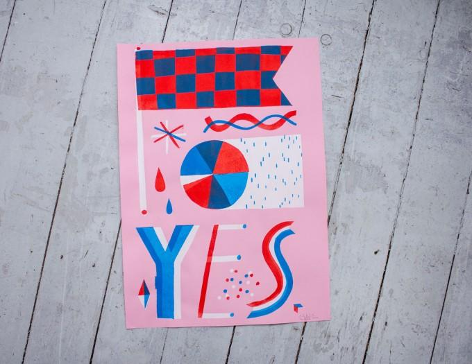 Martin Krusche – Stencil Artprint »YES«, 50x70cm