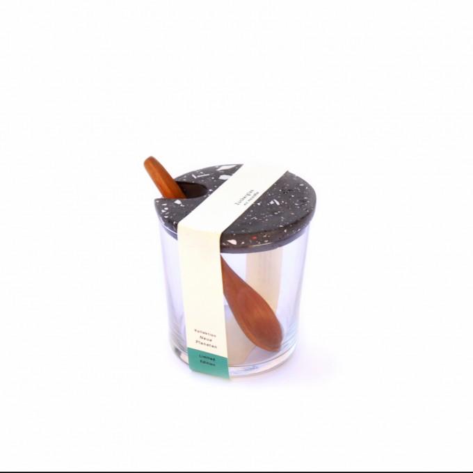 VLO design / Terrazzo Großes Glas mit Holzlöffel & schwarzem Deckel