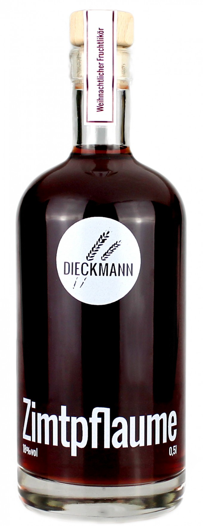 Weizenbrennerei & Likörmanufaktur Dieckmann Zimtpflaume - Fruchtlikör LIKÖR 18%vol., 0,5l