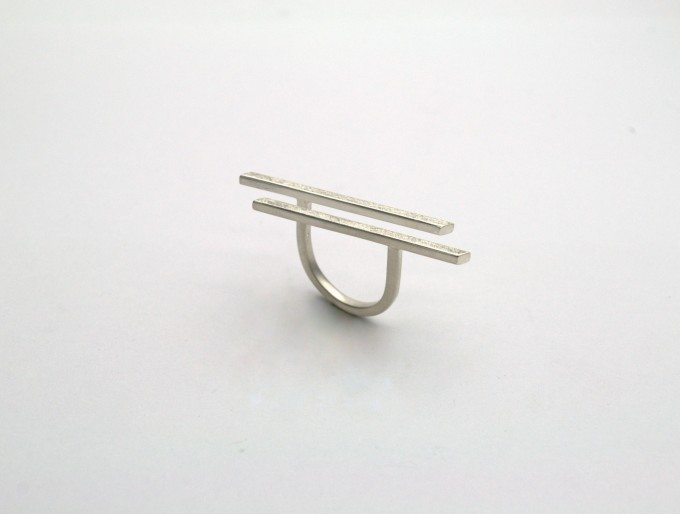 """DOPPELLUDWIG Ring """"NIVELLIERT"""" aus 925/- Silber"""