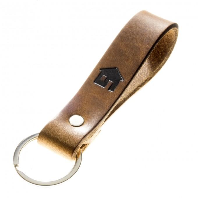LIEBHARDT - Schlüsselanhänger Haustürschlüssel pflanzlich gegerbtes Leder Handmade in Germany mit Gravur/Prägung (Haus - Symbol)
