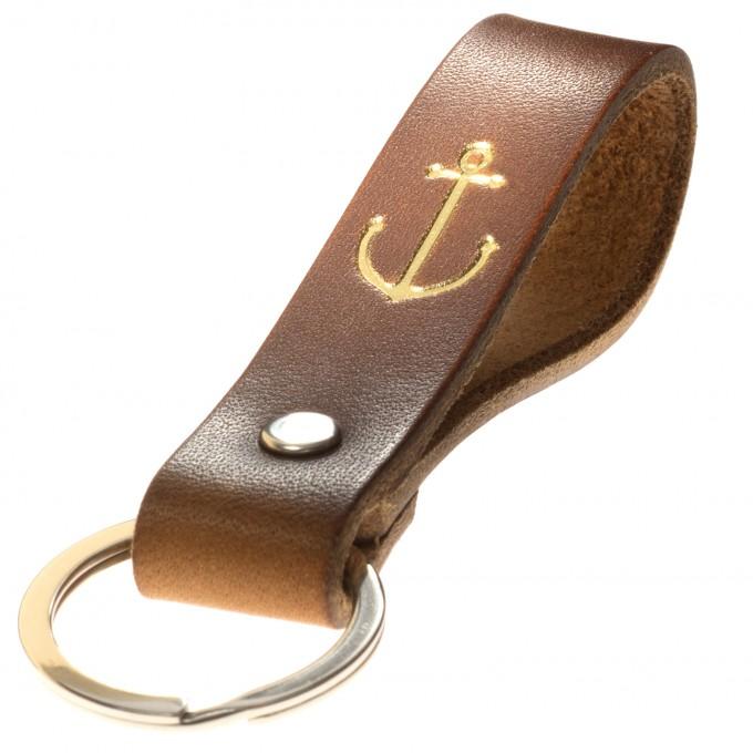 LIEBHARDT Schlüsselanhänger mit schwarzem Anker geprägt nachhaltig aus pflanzlich gegerbtem Leder Handmade in Germany