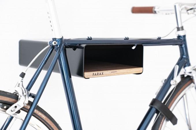 Design Fahrrad-Wandhalterung | PARAX® S-RACK | Schwarz mit Walnuss Holz | für Rennrad Hardtail & Cityrad