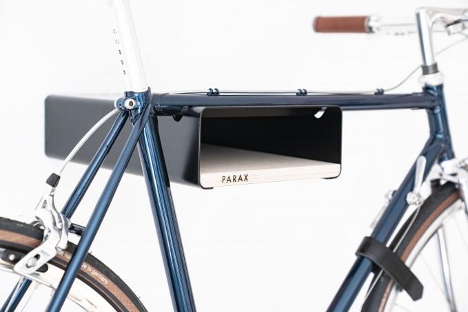 Design Fahrrad-Wandhalterung   PARAX® S-RACK   Schwarz mit Birken Holz   für Rennrad Hardtail & Cityrad