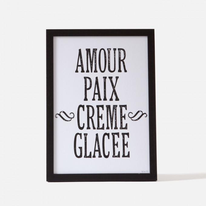 Bon Matin Siebdruck Amour Paix Creme Glacee Blk/Wht