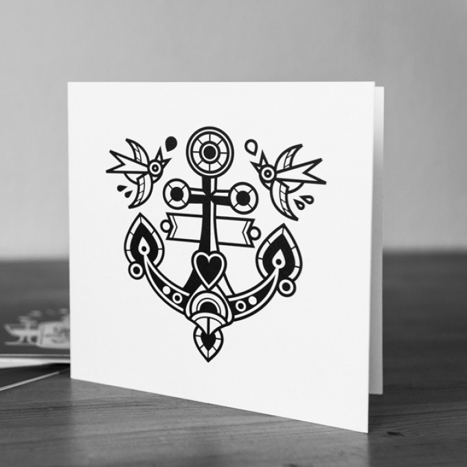 Krools Design Postkarten Tattoo – Anker (4er Set)
