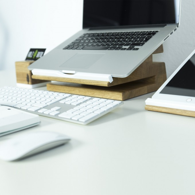 Desk Organizer stando, Laptop Stand | Apple Macbook Ständer | Holzbutiq