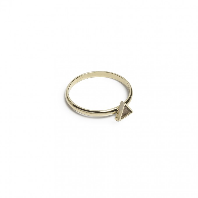BeWooden Ring mit Holzdetail - Aurum Triangle Ring