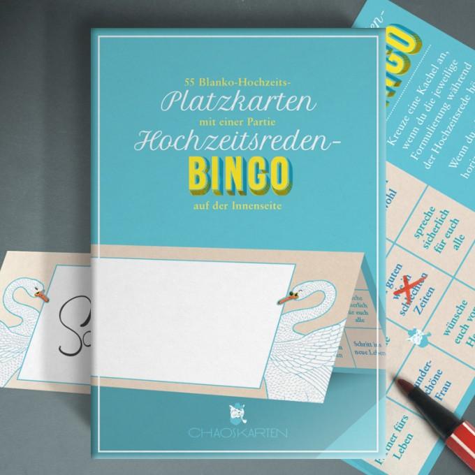 Chaoskarten Hochzeitsreden-Bingo + Platzkarten