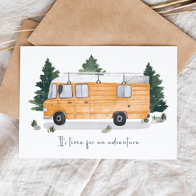 "Paperlandscape | Faltkarte ""It's time for an adventure Düdo"" | Reisen | Camper Van | verschiedene Farben"