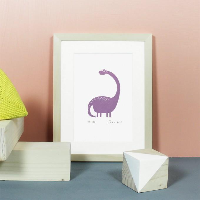 Knallbraun – Dino | Linolschnitt