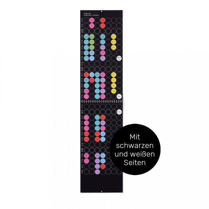 dot on maxi / Monatsplaner 2021 – mit Klebepunkten in 12 Farben