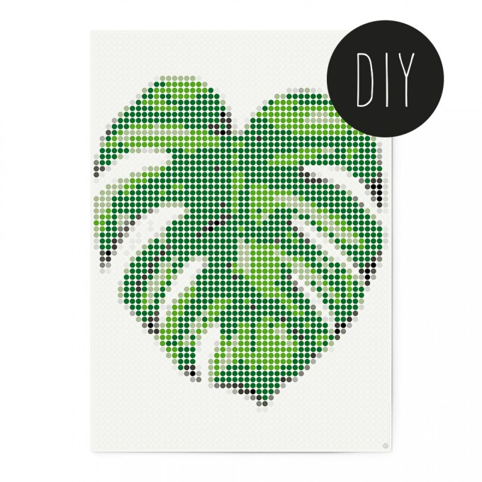 dot on art / monstera – DIY-Kunstwerk zum Selberkleben / 50x70 cm