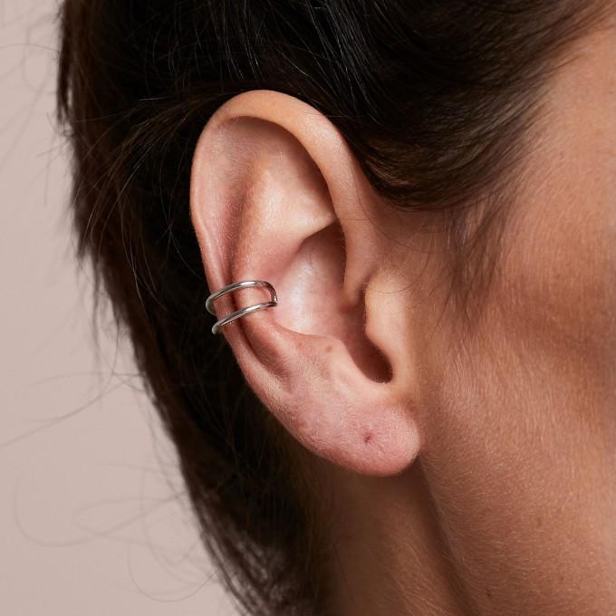 related by objects - lunar earcuff - 925 Sterlingsilber weiß rhodiniert