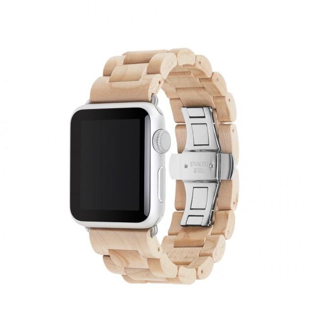 Woodcessories - EcoStrap - Premium Design Holzband, Strap, Armband, Uhrenarmband für die AppleWatch 1, 2 & 3 aus echtem Holz (Ahorn / silber, 38mm)