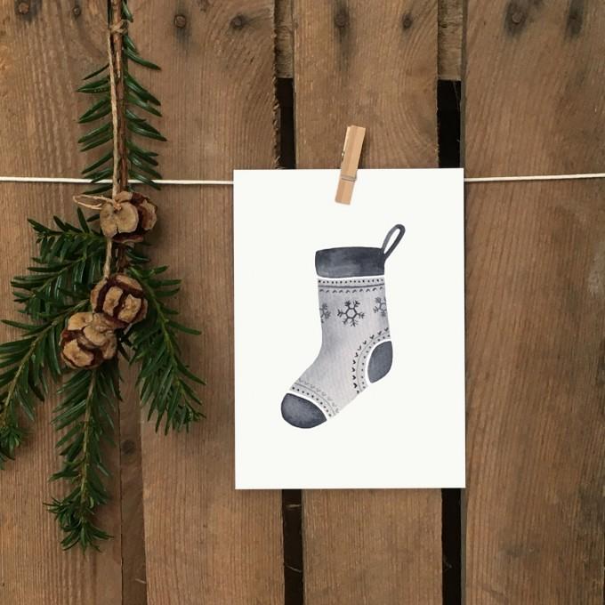 Weihnachtskarte A6 – Weihnachtsstrumpf - Elliet