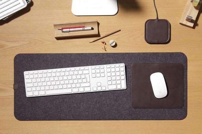"""Pack & Smooch Kingston - Schreibtischunterlage, Tastaturunterlage """"MOIRA"""" aus Wollfilz (Mulesing-frei) und Leder"""