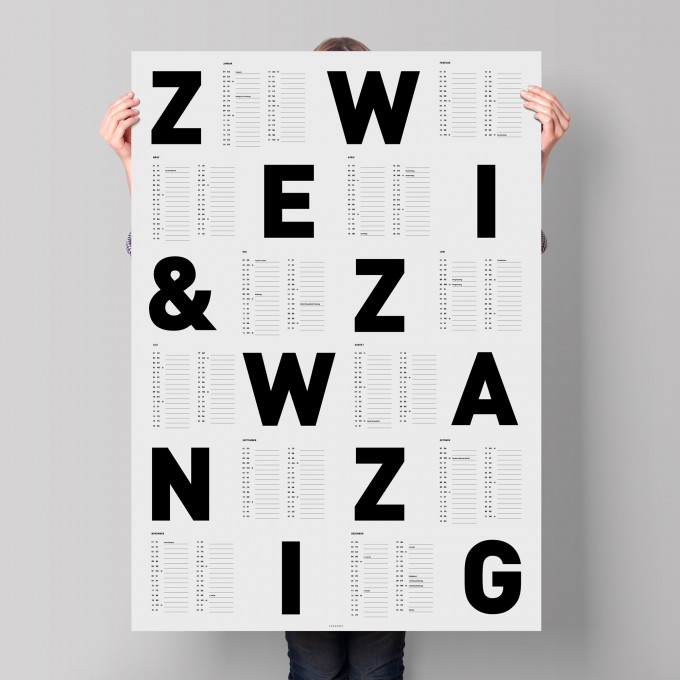 FOX&POET Wandkalender 2022 *SCHWARZ-WEISS*
