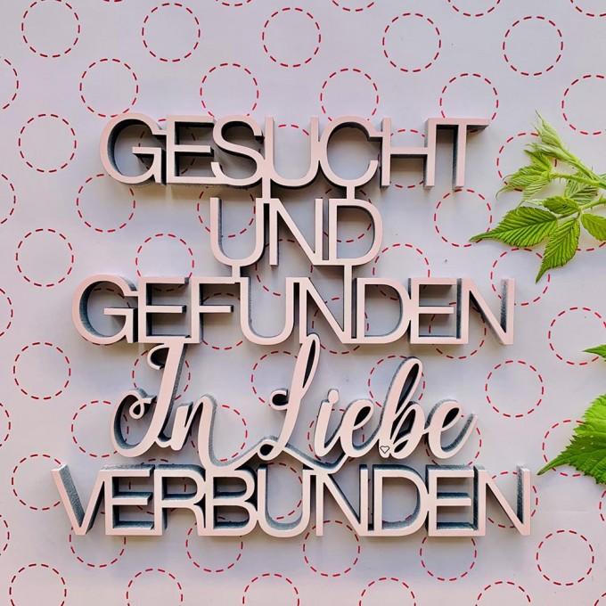 NOGALLERY Gesucht und gefunden In Liebe verbunden - Deko Schriftzug Holz