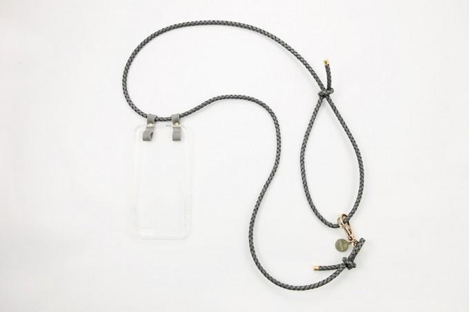Lapàporter – iPhone case zum Umhängen mit geflochtener Lederkordel, grau/gold