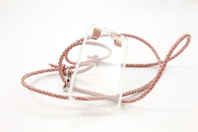 Lapàporter – iPhone Hülle zum Umhängen mit geflochtener Lederkordel, rosé/silber