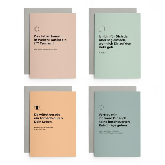 Set Direkt & Ehrlich | 4er Set Klappkarten inkl. Umschlag | heartfelt paper & co