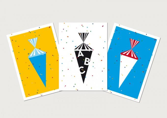 """3 Held&Lykke Postkarten """"CandyMail"""""""