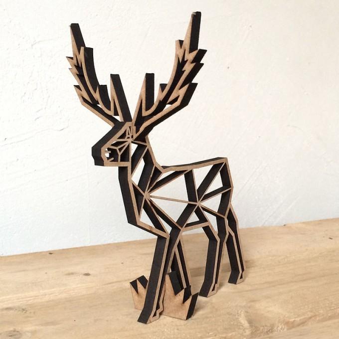 NOGALLERY Hirsch - Holz Motiv Deko Aufsteller