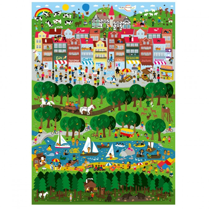 Human Empire Stadt Land Fluss Poster (50x70cm)