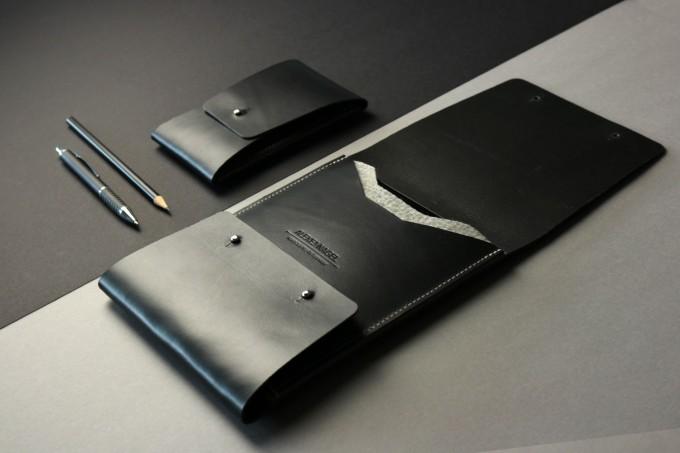 Alexej Nagel Elegante Hülle für iPad Air / Air 2 / Pro aus Premiumleder - Schwarz [BL]