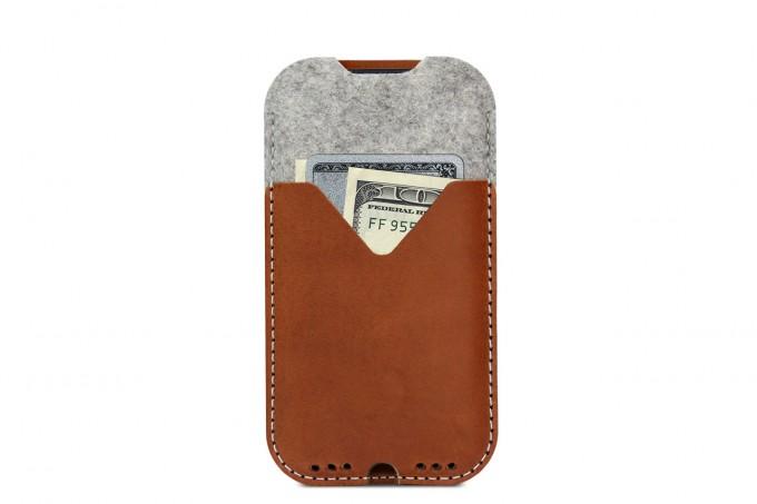 iPhone 11 Pro Max / Xs MAX / 8 Plus KIRKBY case - Pflanzlich gegerbtes Leder 100% Merino Wollfilz