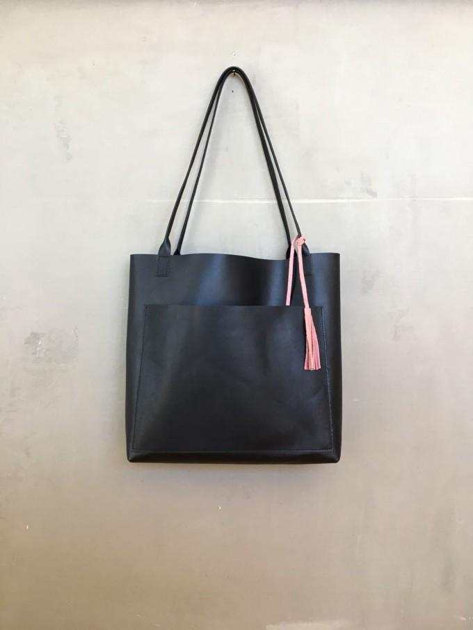 BSAITE Leder Shopper / schwarze  multifunktionale Schultertasche