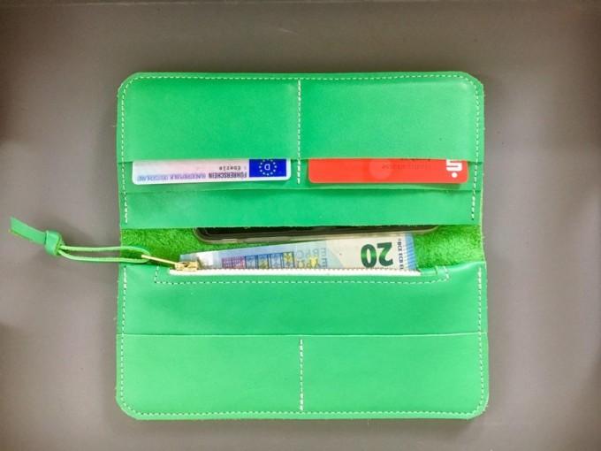 BSAITE knallgrünes Portemonnaie / Geldbeutel / Geldbörse / Echt Leder