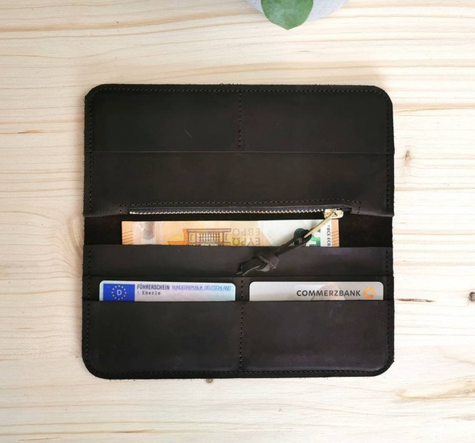 BSAITE dunkelbraunes Portemonnaie / Geldbörse / Echt Leder