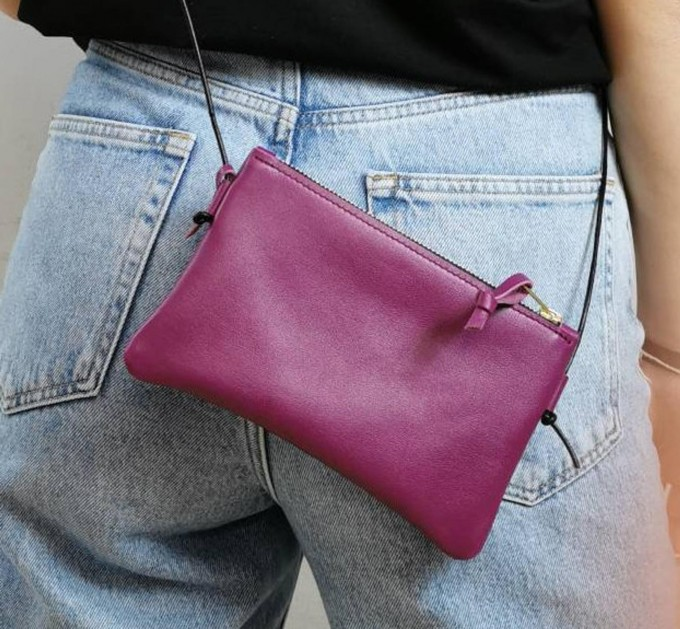 BSAITE Minitasche aus echtem Leder / Smartphone Bag / Crossbody / Fuchsia