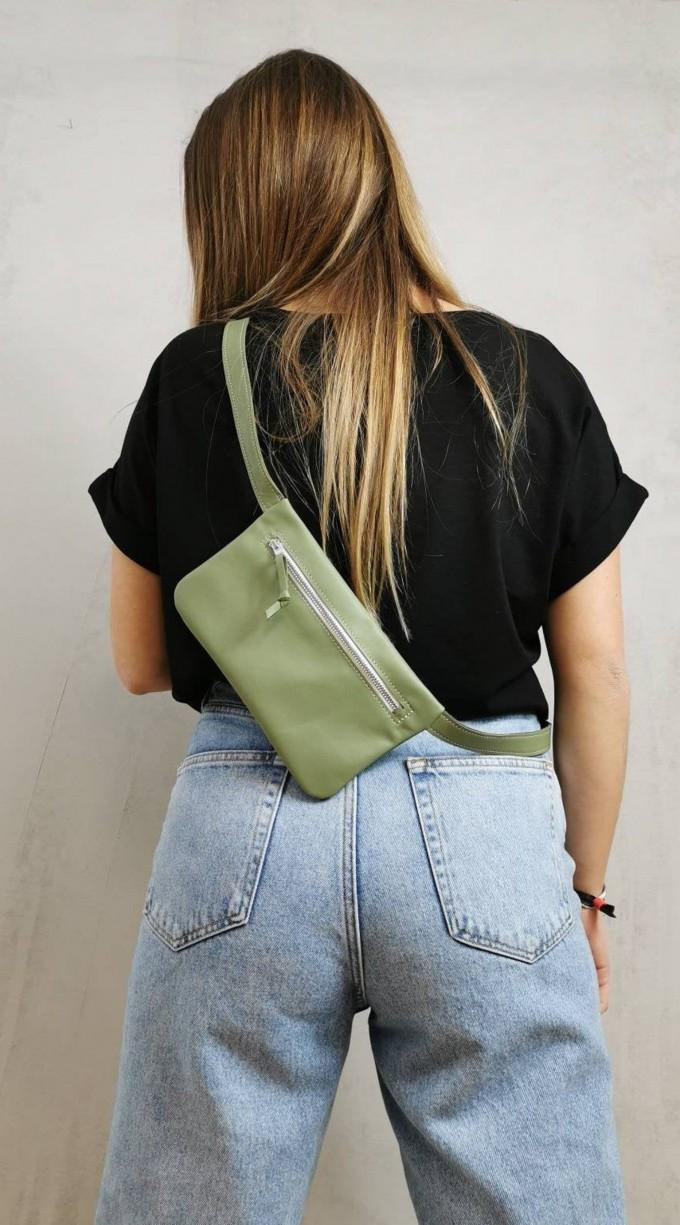 BSAITE Gürteltasche aus echtem Leder / Hip Bag / mint