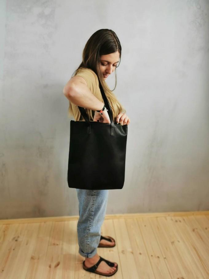 BSAITE Zeitloser Shopper / Schultertasche / schwarz / Echt Leder