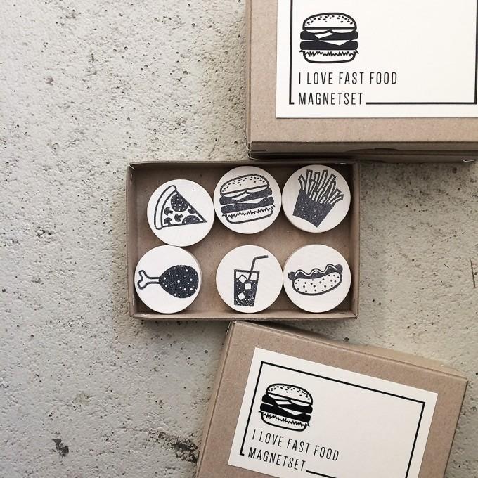 Knallbraun – I Love Fast Food | Magnetset
