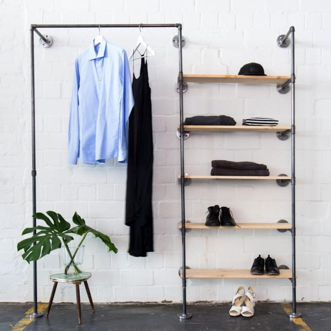 various Offener Kleiderschrank im Industriedesign in Wunschgröße - Ankleidesystem mit Kleiderstange + Regal aus Wasserrohr