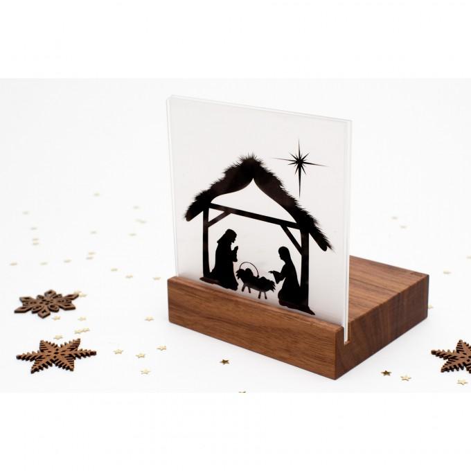 klotzaufklotz Weihnachtskrippe Mini Bethlehem Holz (Nussbaum)