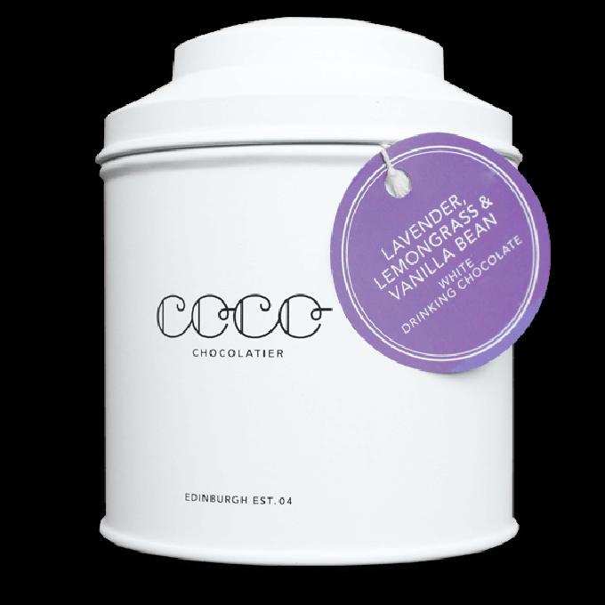 Coco Chocolatier weiße Trinkschokolade mit Lemongrass & Lavendel (bio)