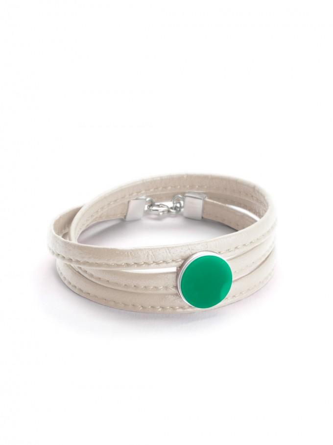 """Eva Slotta Jewellery """"Tint Deep"""" Armband mit weißem Nappaleder und grünem Achat, 925 Silber"""
