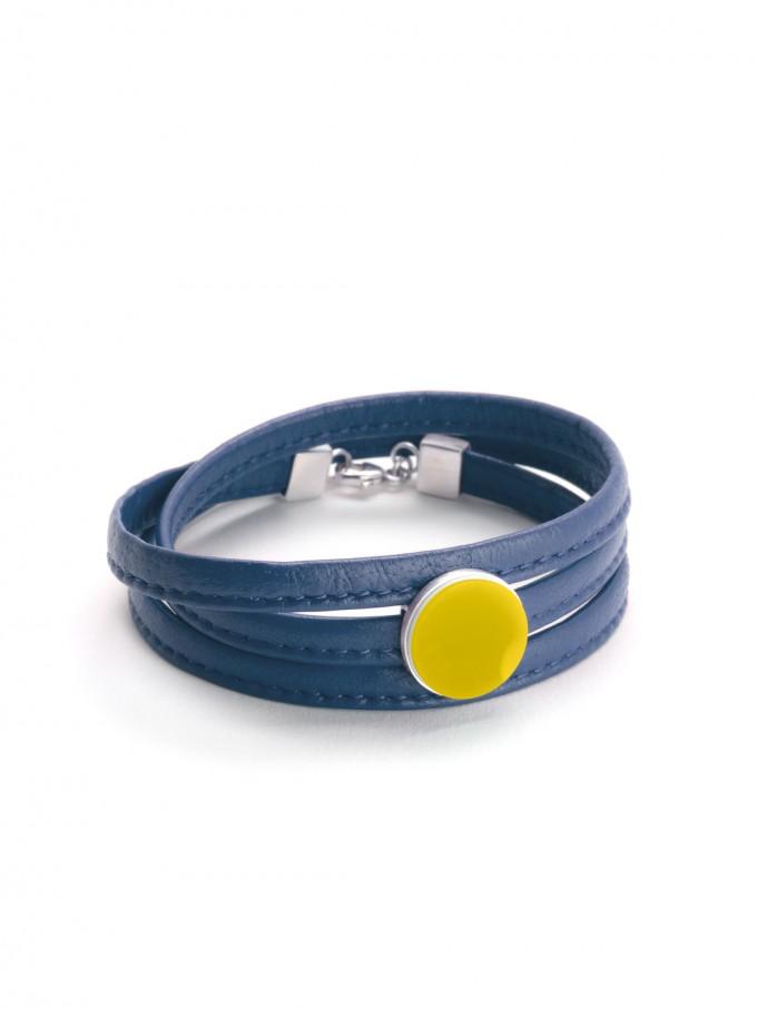 """Eva Slotta Jewellery """"Tint Deep"""" Armband mit blauem Nappaleder und gelbem Achat, 925 Silber"""