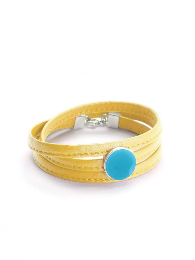 """Eva Slotta Jewellery """"Tint Deep"""" Armband mit gelbem Nappaleder und türkisfarbenen Achat, 925 Silber"""